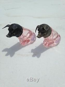 Rare Antique Pink Depression Glass Pig Salt Pepper Shakers Pewter Top