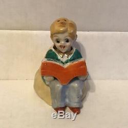 Rare BOY READING BOOK Salt & Pepper Shakers Nodder Nodding Set S&P