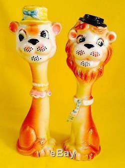 Rare! Circus Lion Vintage Anthropomorphic Salt and Pepper Shakers Lefton Tall