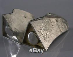 Rare English Solid Sterling Silver Modernist Salt & Pepper Pots 1995 Heads