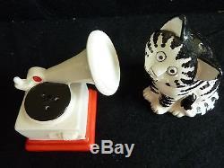 Rare Guaranteed Original Mint Kliban Cat & Phonograph Salt And Pepper Shakers