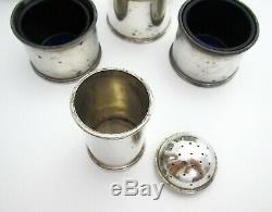 Rare Indian Colonial Hamilton Co SILVER Salt Pepper Mustard Pot Spoon Cruet Set