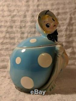 Rare Lefton Blue Ladybug Cookie Jar Flawless Condition W Salt & Pepper Shakers