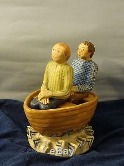 Rare! Marilyn Andrews 1997 Salt & Pepper Shaker Two Men in a Rowboat boat Water