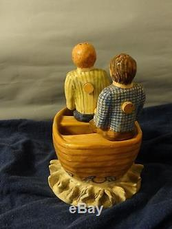 Rare! Marilyn Andrews 1997 Salt & Pepper Shaker Two Men in a Rowboat boat Water