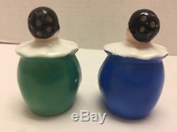 Rare! Pair Goebel Germany Art Deco Pierrot Salt & Pepper Shakers Circa 1935