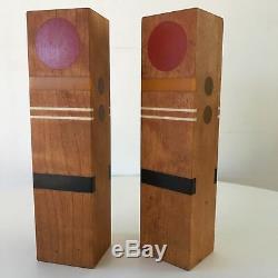 Rare Sculptural Robert McKeown Resin Wood Salt Pepper Shakers California Midmod