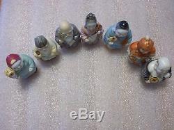 Rare Toshikane Arita Japan SEVEN LUCKY ASIAN GOD Figures Salt And Pepper Shakers