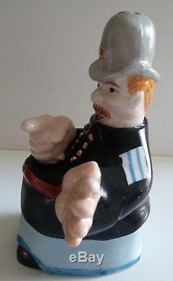 Rare Vinatge Bobby Constable Keystone Cop Nodder Salt And Pepper Shaker Marked