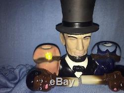 Rare Vintage ABE LINCOLN BLACK AMERICANA Nodder Salt Pepper Shakers Regal