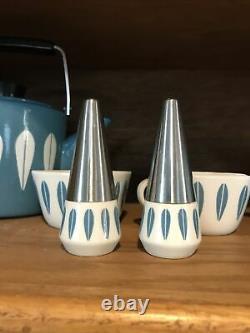 Rare Vintage Catherineholm Lyngby Blue Salt & Pepper Shakers Mid Century Modern