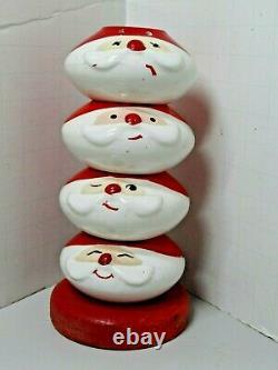 Rare Vintage Holt Howard Stacking Santa Claus Salt & Pepper Shaker Set On Stand