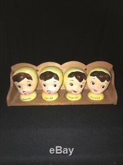 Rare Vintage Napco Miss Cutie Pie Spice Rack Salt Pepper Shakers Set Pixieware