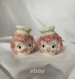 Rare Vintage Pink Poodle Salt & Pepper Shakers Lefton Japan