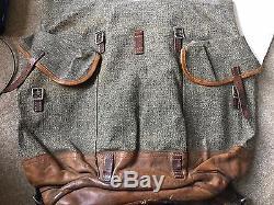 Rare Vintage Swiss Army 1948 Rucksack Rifle Holder Backpack Canvas Salt & Pepper