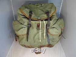 Rare! Vintage Swiss Army Salt & Pepper Rucksack/Backpack w Riffle Holder