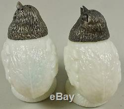 Rare Wavecrest Milk Glass Standing Chicken Salt & Pepper Shakers With Silver Heads
