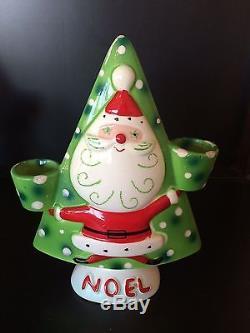 Rare vtg set Napco Santa Noel candle holders with salt & pepper shaker bells Japan