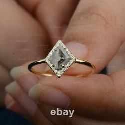 Rhombus Cut Salt & Pepper Diamond Ring Solid 14K Yellow Gold Engagement Jewelry