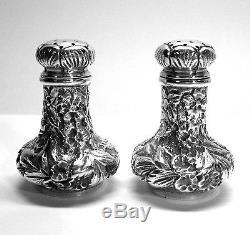 Ritter & Sullivan Baltimore Repousse Sterling Silver Salt Pepper Shakers 1900-15