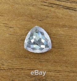 Rose Cut Triangle Salt and Pepper Gray Diamond 2.42 Carat 8.50 8.00 MM Natural