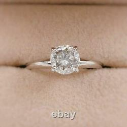 Round Salt & Pepper Diamond Solitaire Engagement Ring 1.49 cts 14kt White Gold