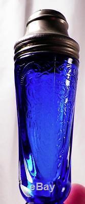 Royal Lace Salt & Pepper Shakers Cobalt Blue Depression Glass Hazel Atlas Good