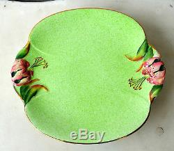 Royal Winton Tiger Lily Mottled Green Lot Teapot Creamer Cake Plate Salt/Pepper
