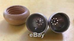 Russel Wright Spun Aluminum And Wood Acorn Salt & Pepper Shakers MCM Rare EUC