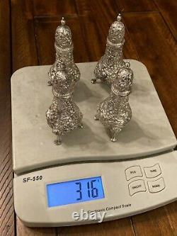 S. KIRK & SON REPOUSSE STERLING SILVER SALT & PEPPER SHAKERS ca. 1932+ # 58