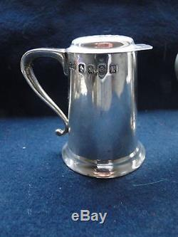 SALT & PEPPER SHAKER STERLING SILVER NOVELTY TANKARD SHAPE SCOTTISH 1933