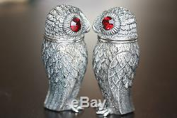 Silver Owl Salt & Pepper Shaker Condiments With Red Garnet Eyes