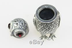 Silver Owl Salt & Pepper Shaker Condiments With Red Garnet Eyes