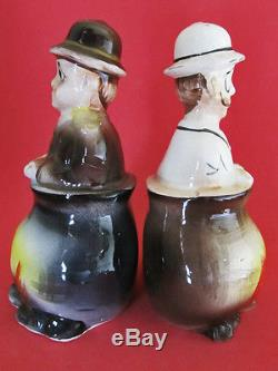 STANLEY & DR. LIVINGSTON IN CANIBAL STEW POTS! Salt and Pepper Shakers
