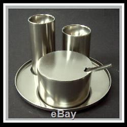 STELTON ARNE JACOBSEN Cylinda-line Menage Salt Pepper Tray Edelstahl