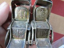 STERLING Silver RICKSHAW Salt & Pepper SHAKERS 1900's Useable Marked Tested 950