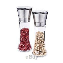 SZAT Exclusive Quality Sleek Stainless Steel Salt & Pepper Grinder Set/Glass Bod