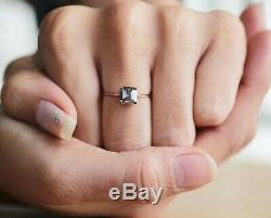 Salt And Pepper Emerald Diamond 14K Solid Rose Gold Ring Engagement Ring KD610