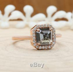 Salt And Pepper Emerald Diamond 14K Solid Rose Gold Ring Engagement Ring KD622
