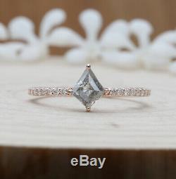 Salt And Pepper Kite Diamond 14K Solid Rose Gold Ring Engagement Gift Ring KD437