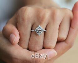 Salt And Pepper Kite Diamond 14K Solid White Gold Engagement Wedding Ring KD477