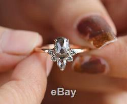 Salt And Pepper Oval Diamond 14K Solid Rose Gold Ring Wedding Ring KD575