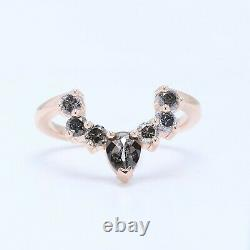 Salt And Pepper Pear Diamond 14K Rose Gold Ring Band Engagement Gift Band KD351