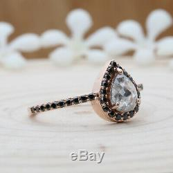 Salt And Pepper Pear Diamond 14K Solid Rose Gold Ring Engagement Gift Ring KD301
