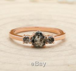 Salt And Pepper Pear Diamond 14K Solid Rose Gold Ring Engagement Gift Ring KD560