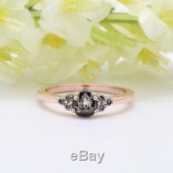 Salt And Pepper Pear Diamond Ring 14K Solid Rose Gold Engagement Gift Ring GR30