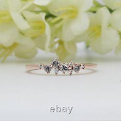 Salt And Pepper Round Diamond 14K Solid Rose Gold Ring Engagement Gift Ring GR06