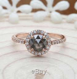 Salt And Pepper Round Rose Cut Diamond 14K Solid Rose Gold Engagement Ring KD283