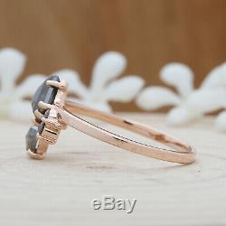 Salt And Pepper Shield Diamond 14K Solid Rose Gold Ring Engagement Ring KD385