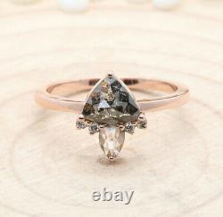 Salt And Pepper Triangle Diamond 14K Solid Rose Gold Ring Wedding Ring KD595